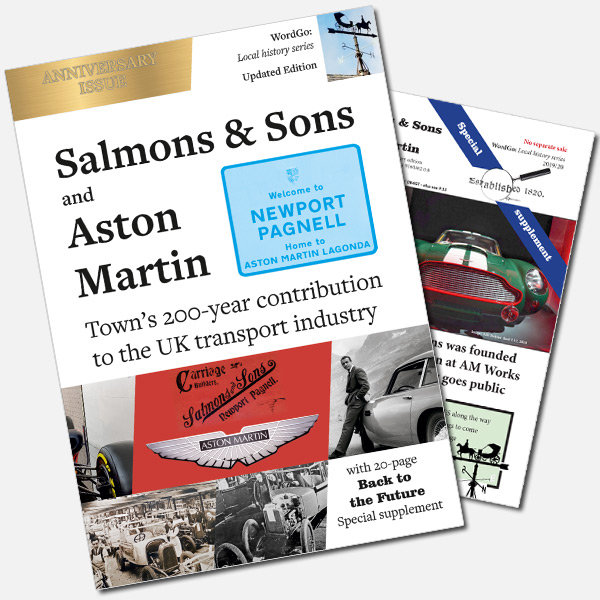 Salmons and Sons & Aston Martin Book Cover with special supplement
