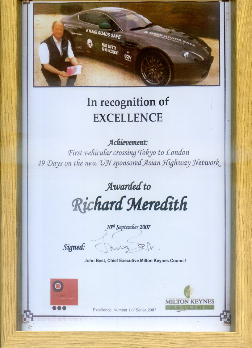 Civic Award presented to the driver